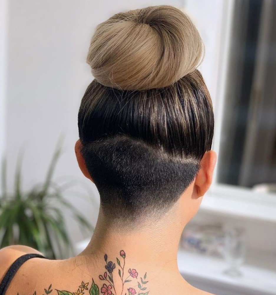 Bun with Faded Nape Undercut