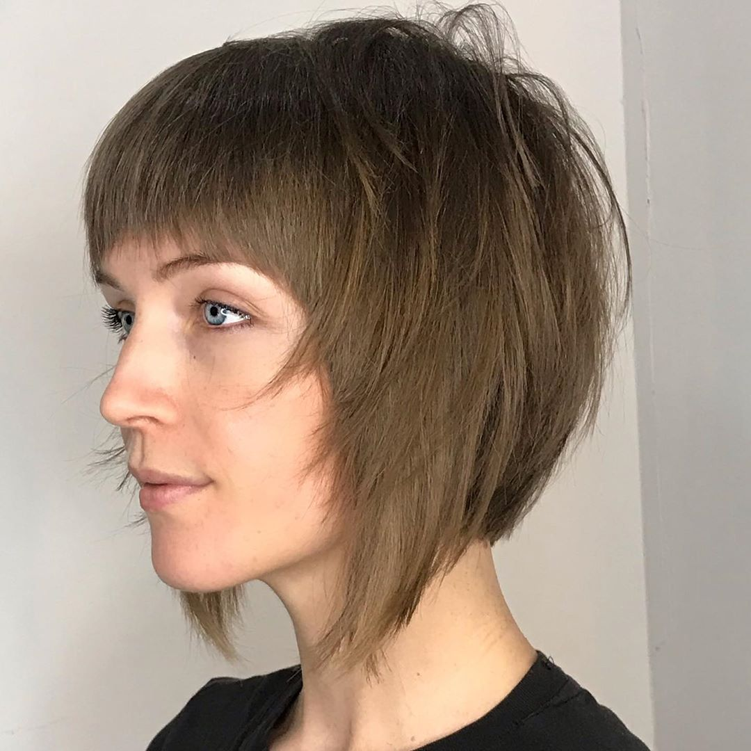 Shaggy Bob with Bangs for Fine Hair