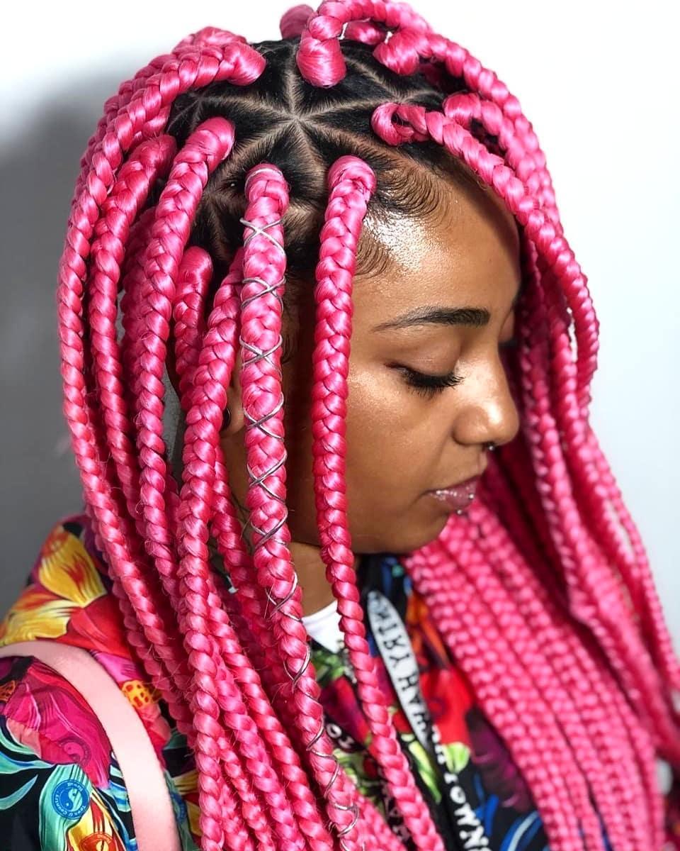 Bright Pink Box Braids