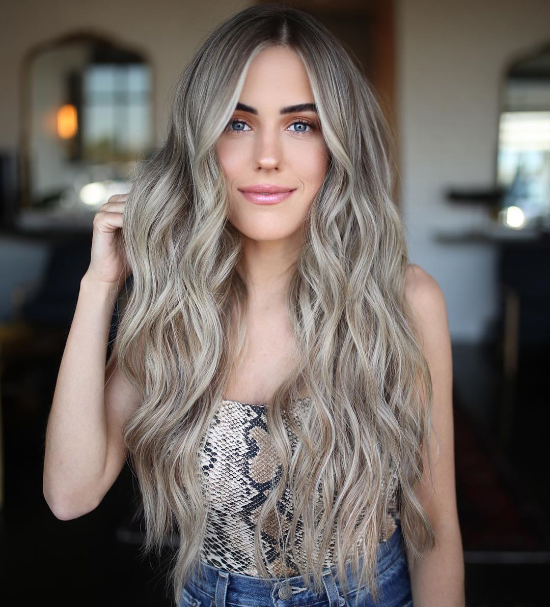 Long Ash Blonde Hair with Beach Waves