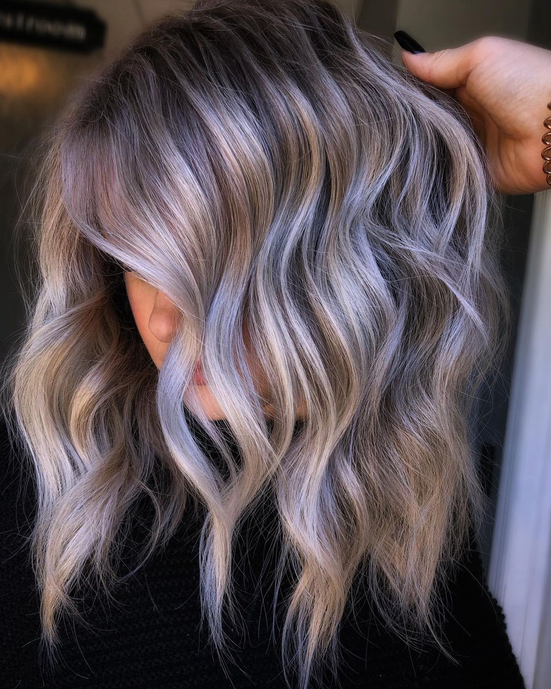Ash Blonde Hair with Lavender Highlights