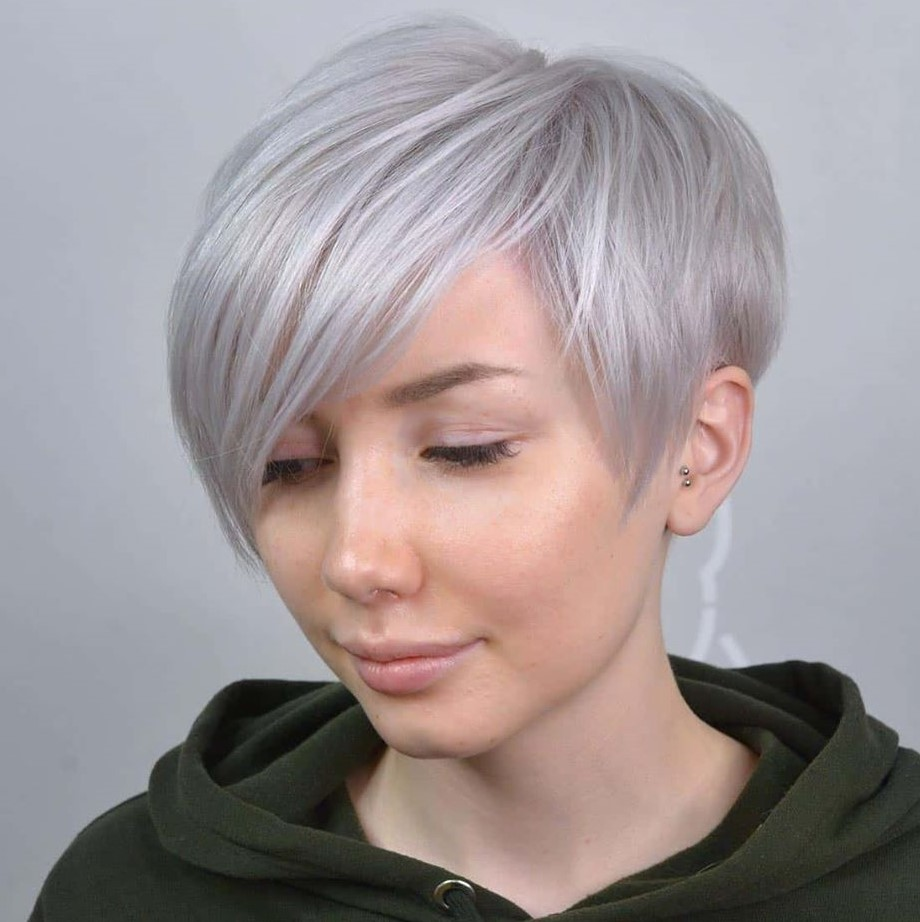 Silver Pixie with Side Bangs