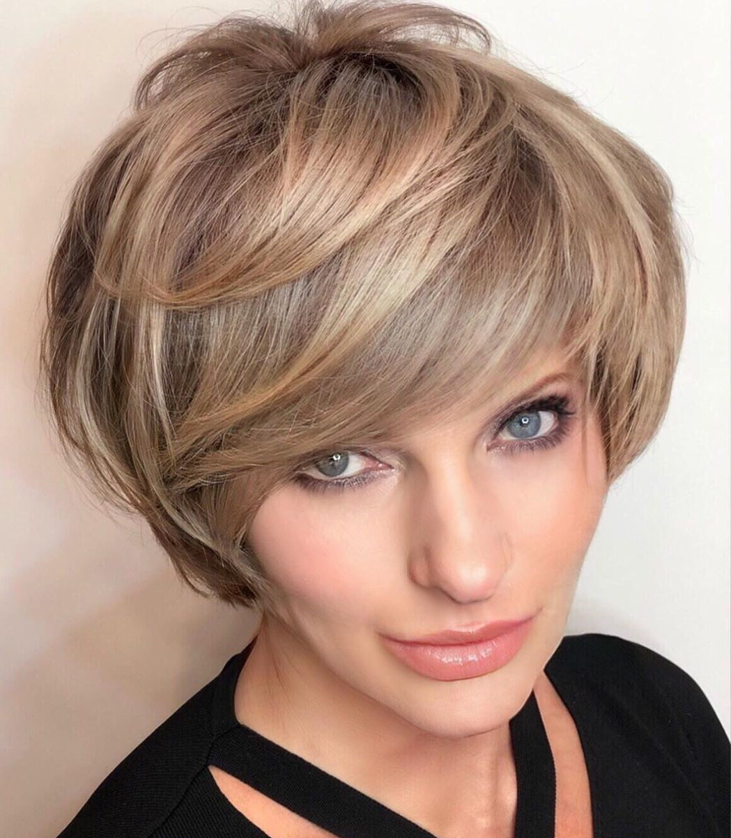 Short Layered Haircut with Thick Side Bangs