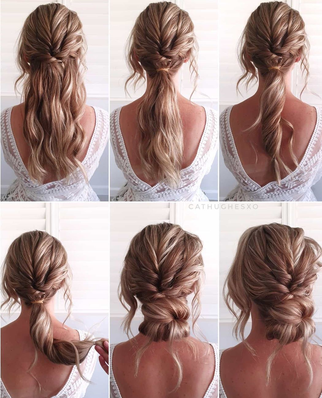 Easy Bridal Wavy Updo