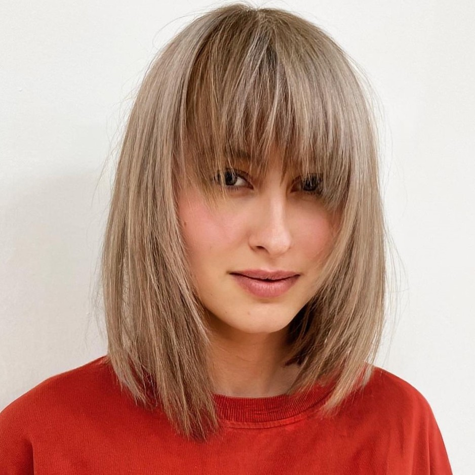 Fine Lob with Bangs and Layers