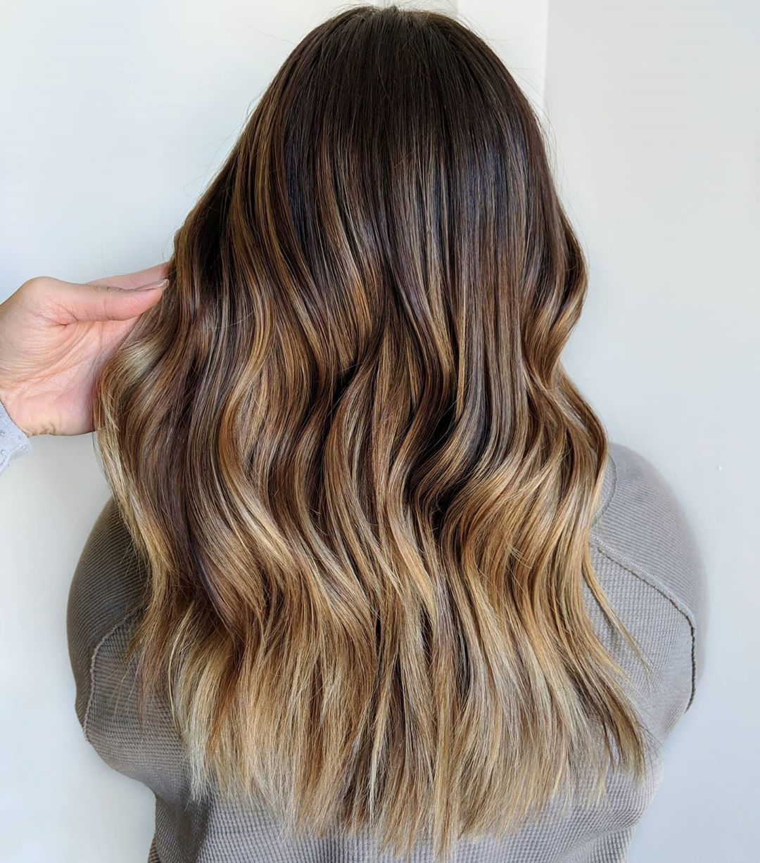 Caramel to Blonde Ombre with Dark Roots