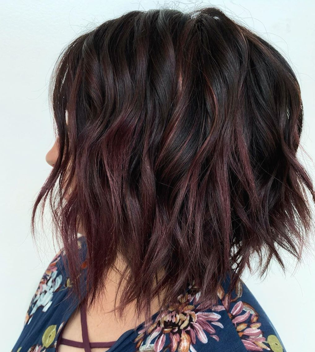 Short Dark Hair with Purple Balayage