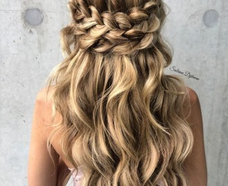 Cute Down Hairstyle with Crown Braids