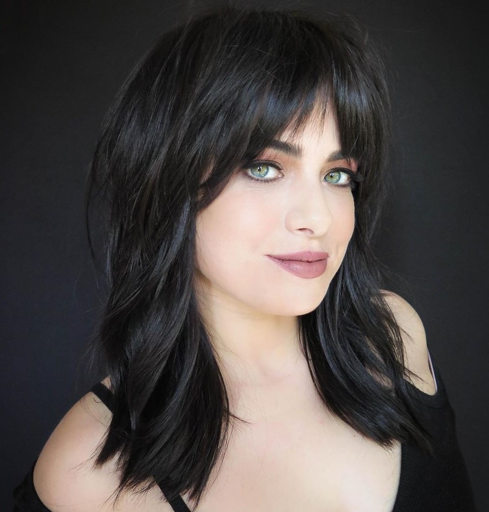 Layered Shoulder Length Hairstyles with Bangs
