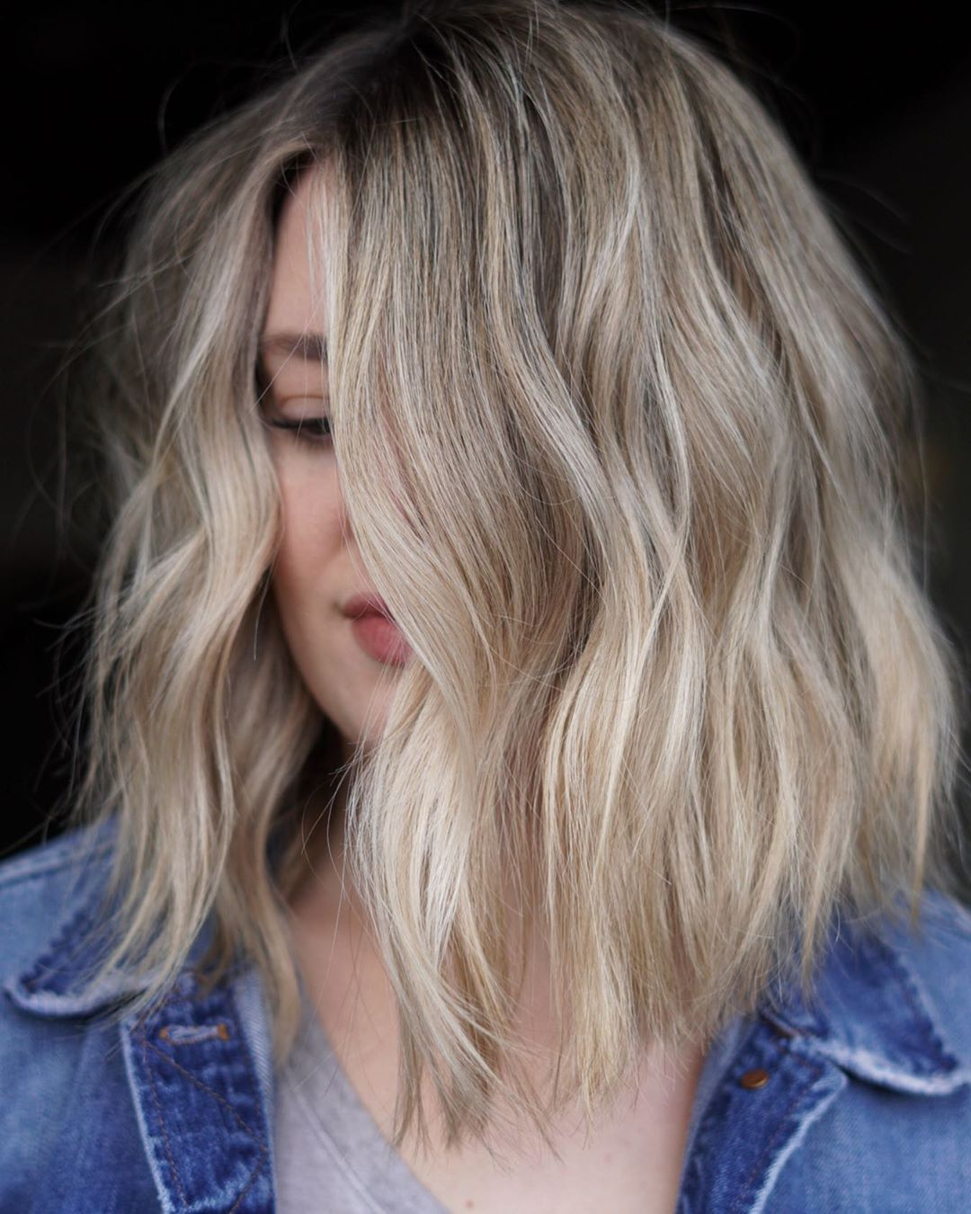 Short to Medium Hair with Blonde and Silver Highlights