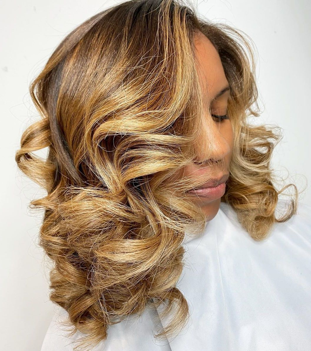 Caramel Brown Hair with Golden Highlights