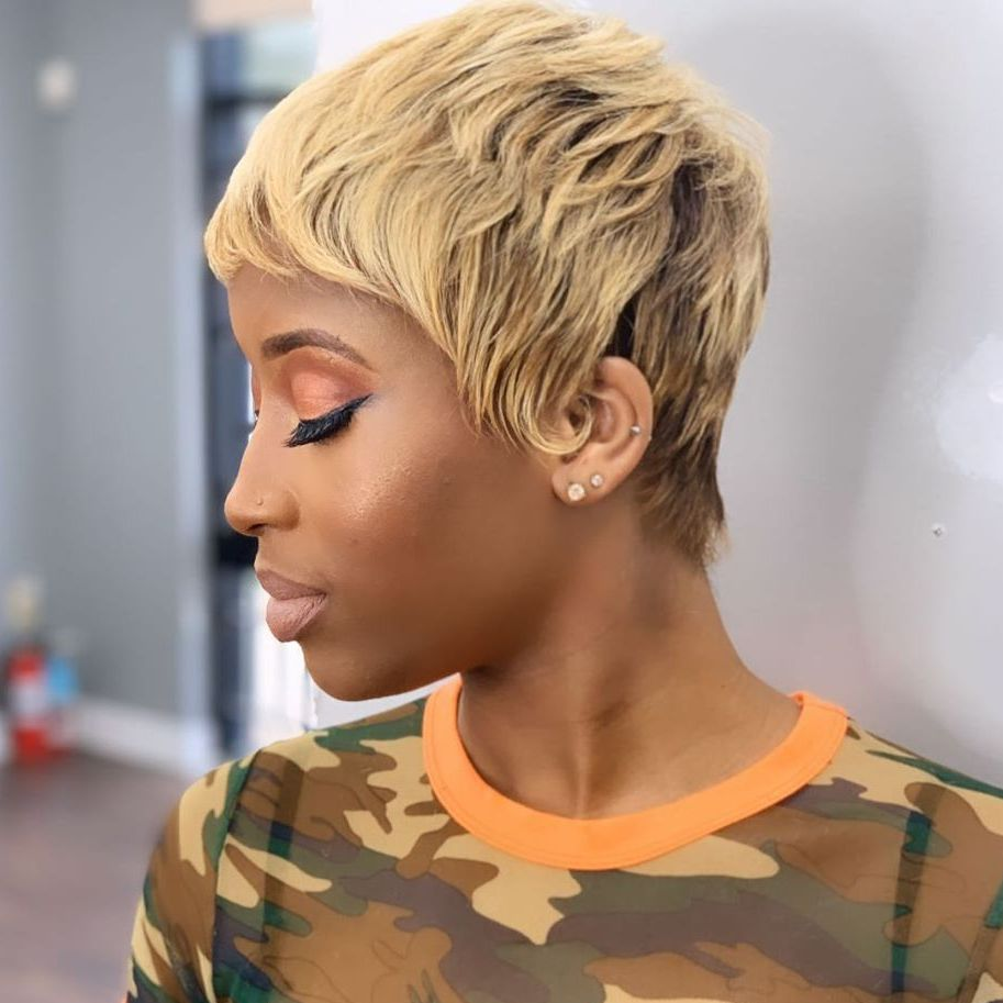 African American Cute Short Blonde Haircut