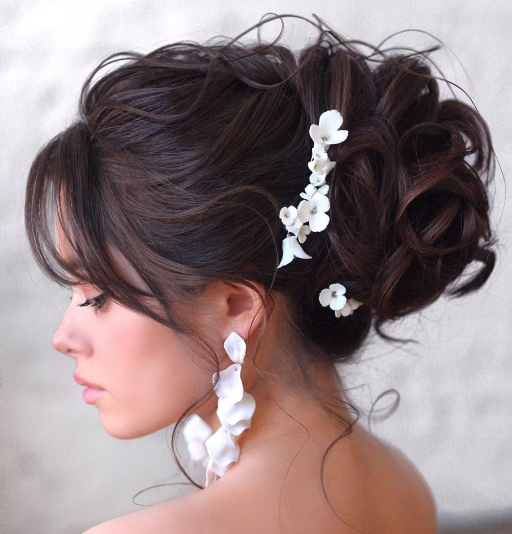 Wedding Curly Updo with Bangs for Medium Hair