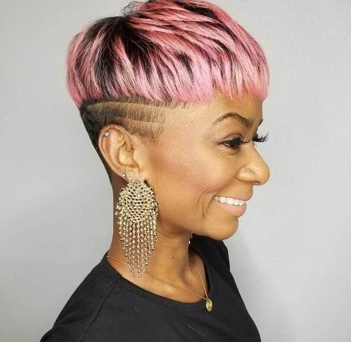 Short Brown Haircut with Pastel Highlights