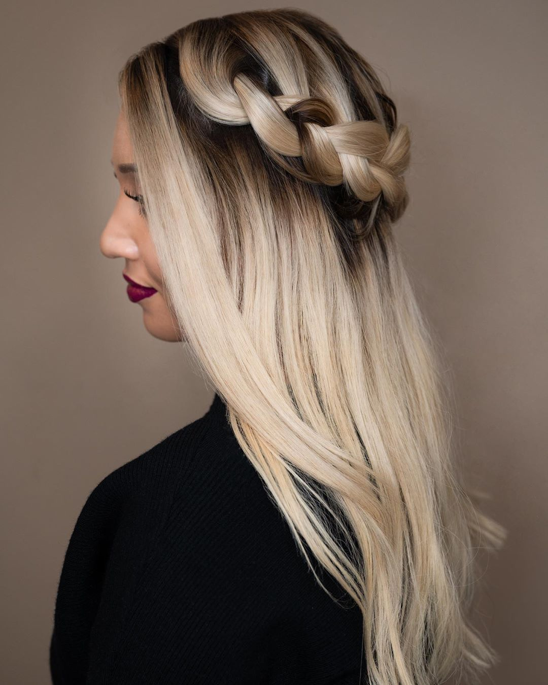 Half Updo with a Braided Halo