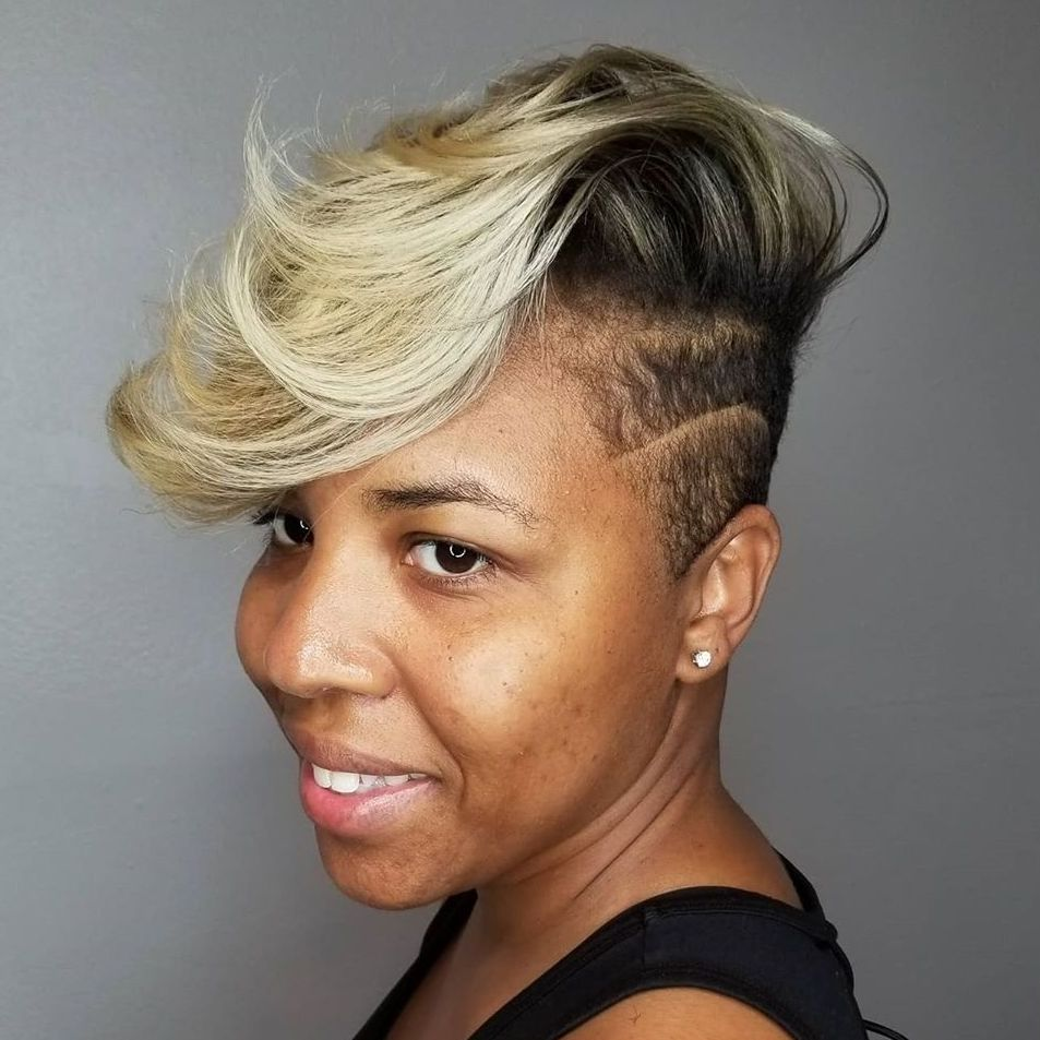 Short Asymmetric Crop with Side Shave and Balayage