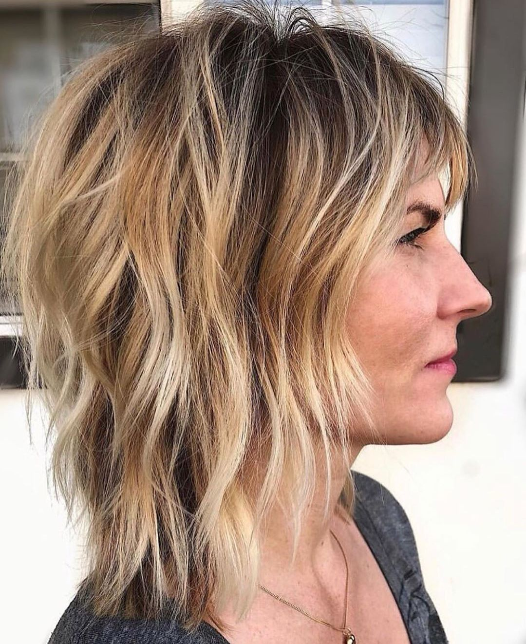 Short Shag with Caramel Blonde Balayage