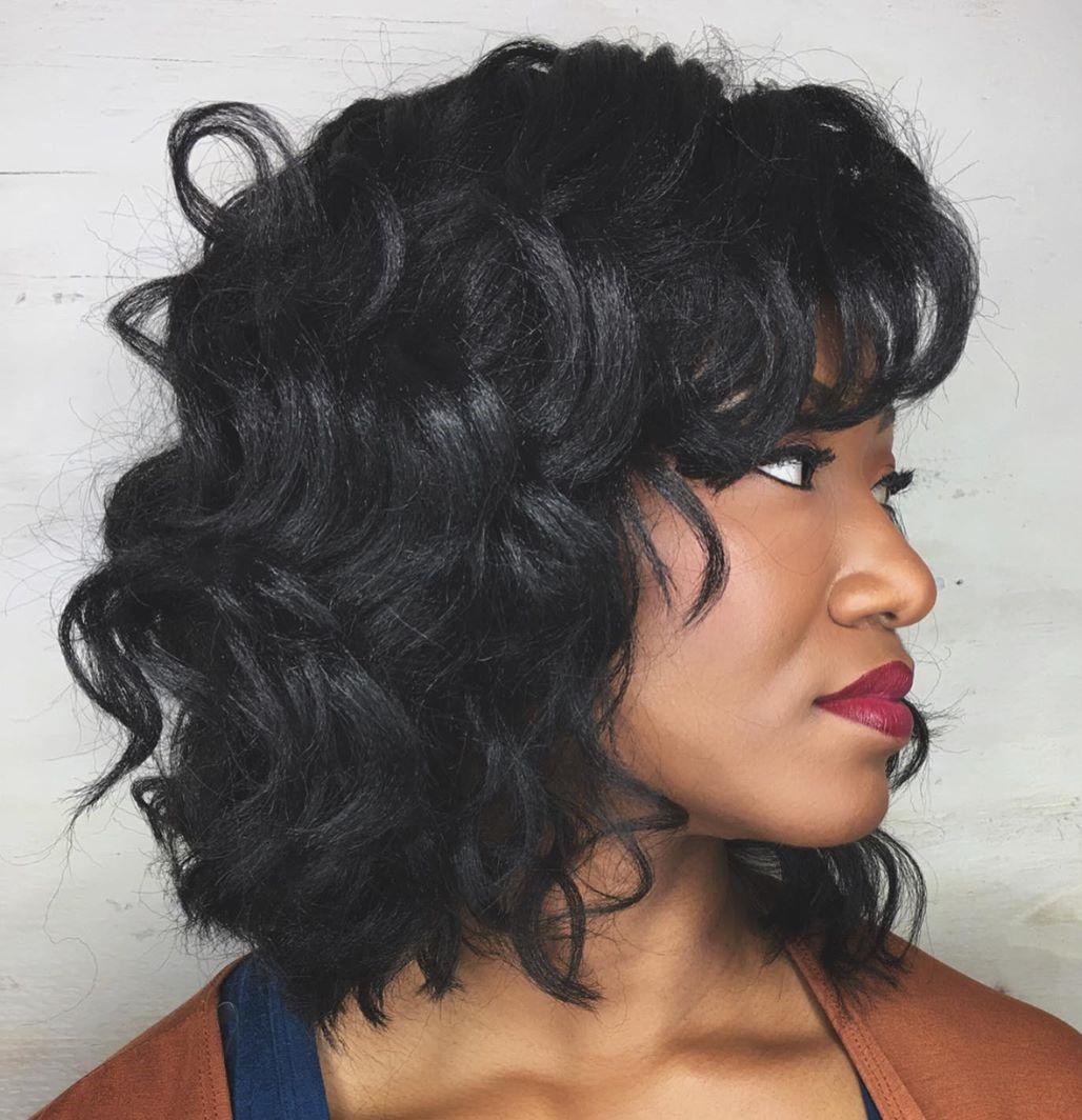 Trendy Black Curly Hair with Bangs