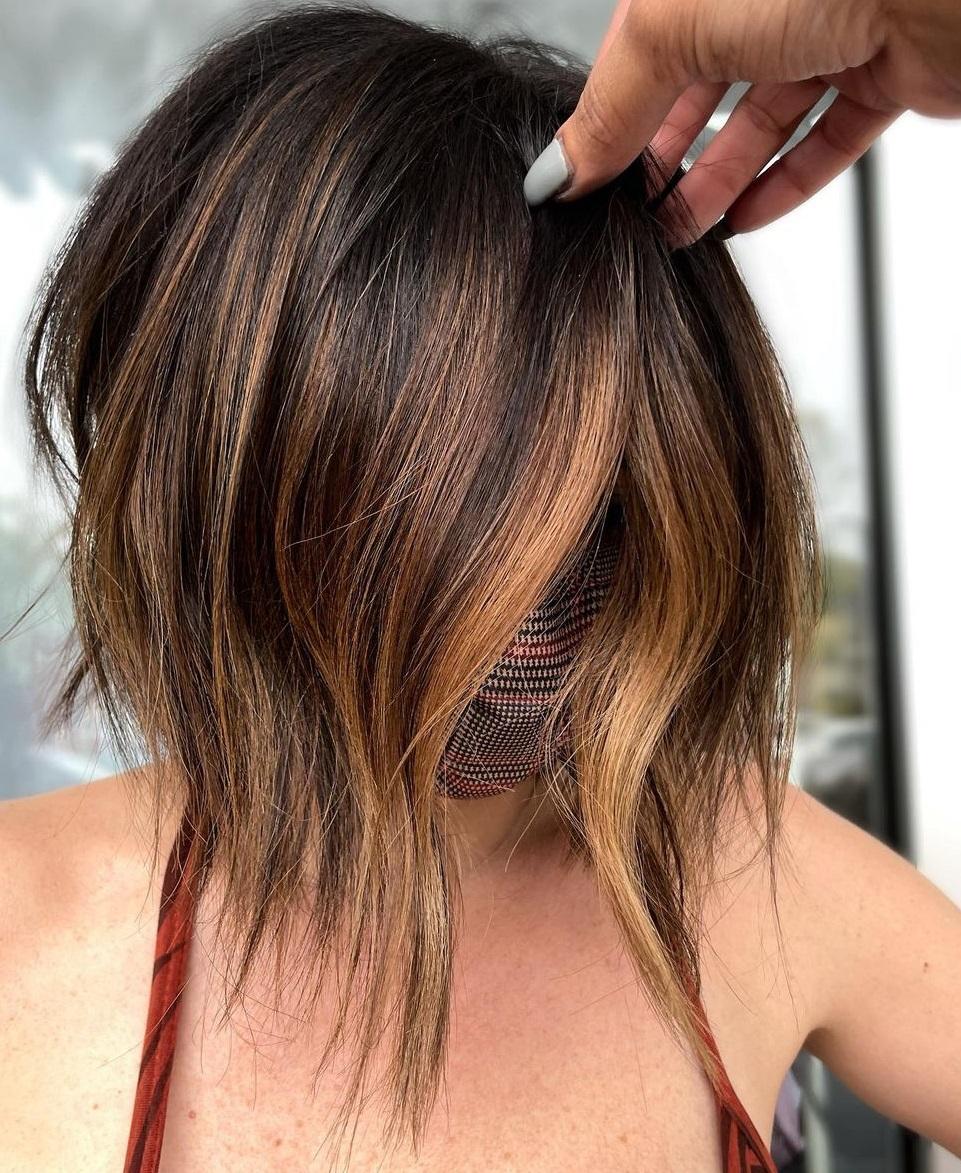 Brunette Short Hair with Cinnamon Balayage