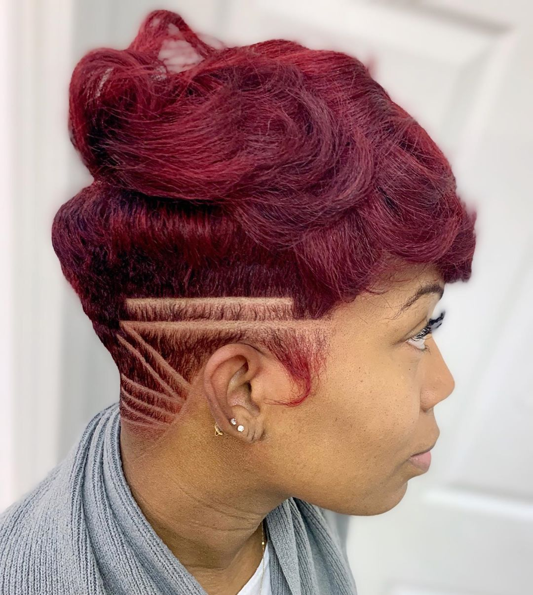 African American Short Burgundy Hair