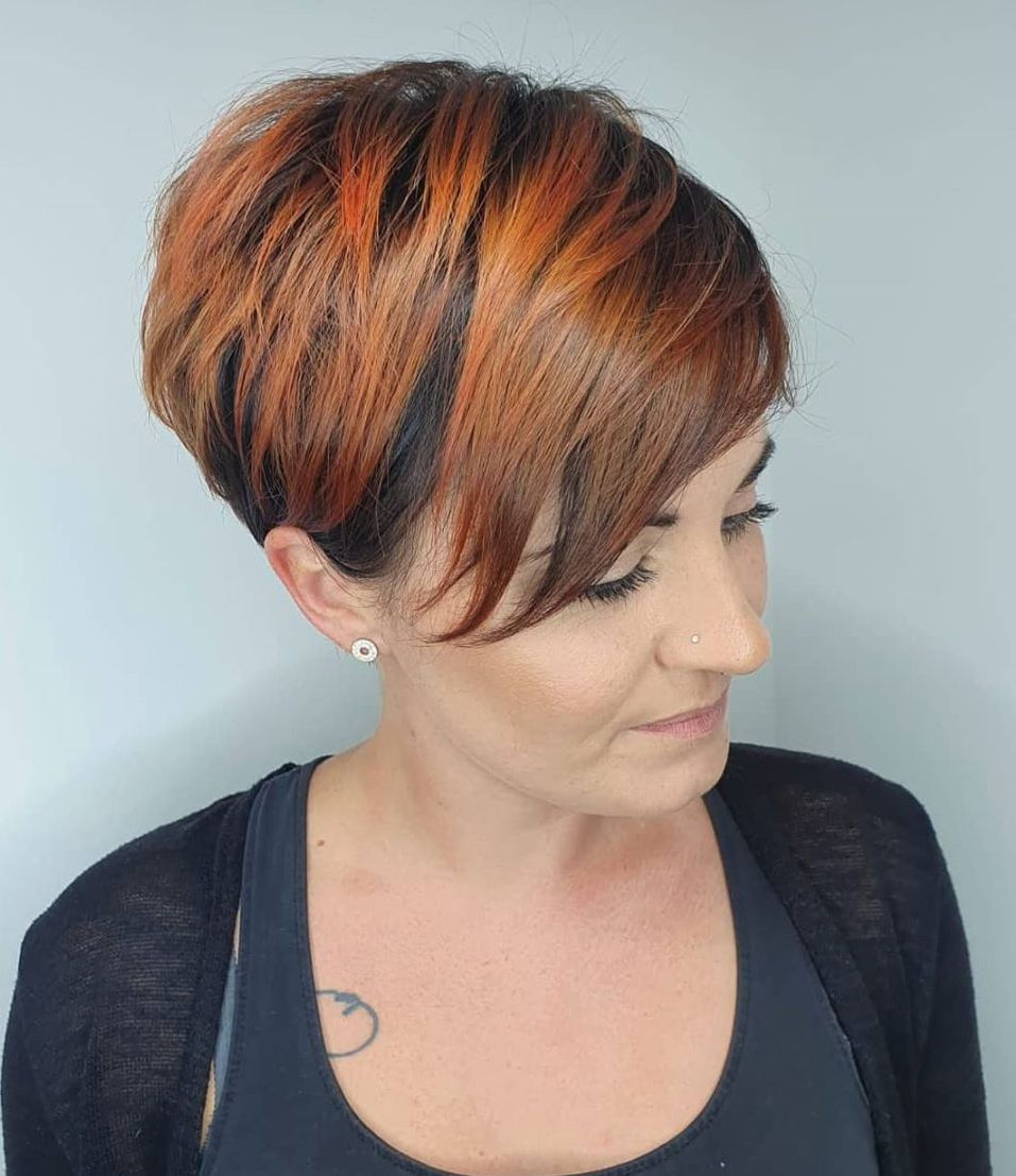 Very Short Hair with Red Balayage