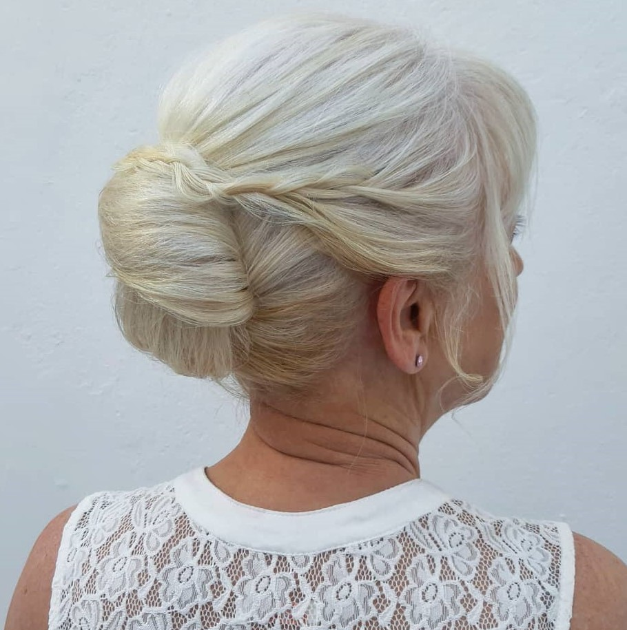 Over 60 French Twist Updo with a Braid for Straight Locks
