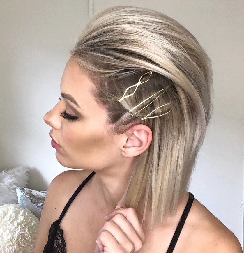 Straight Bouffant Hairstyle with Pins