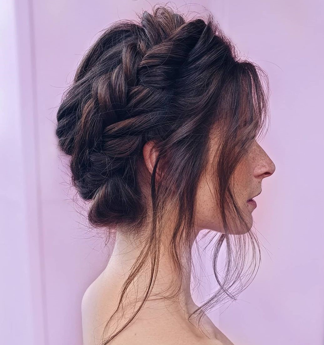 Relaxed Braided Updo for Straight Hair