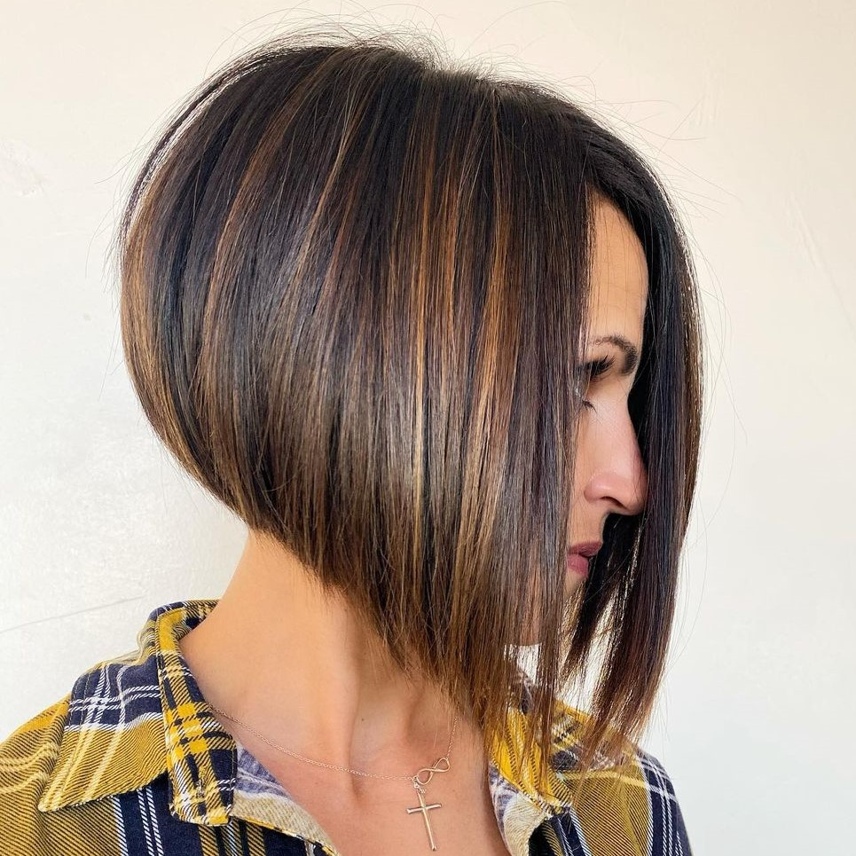 Brown Stacked Bob with Highlights