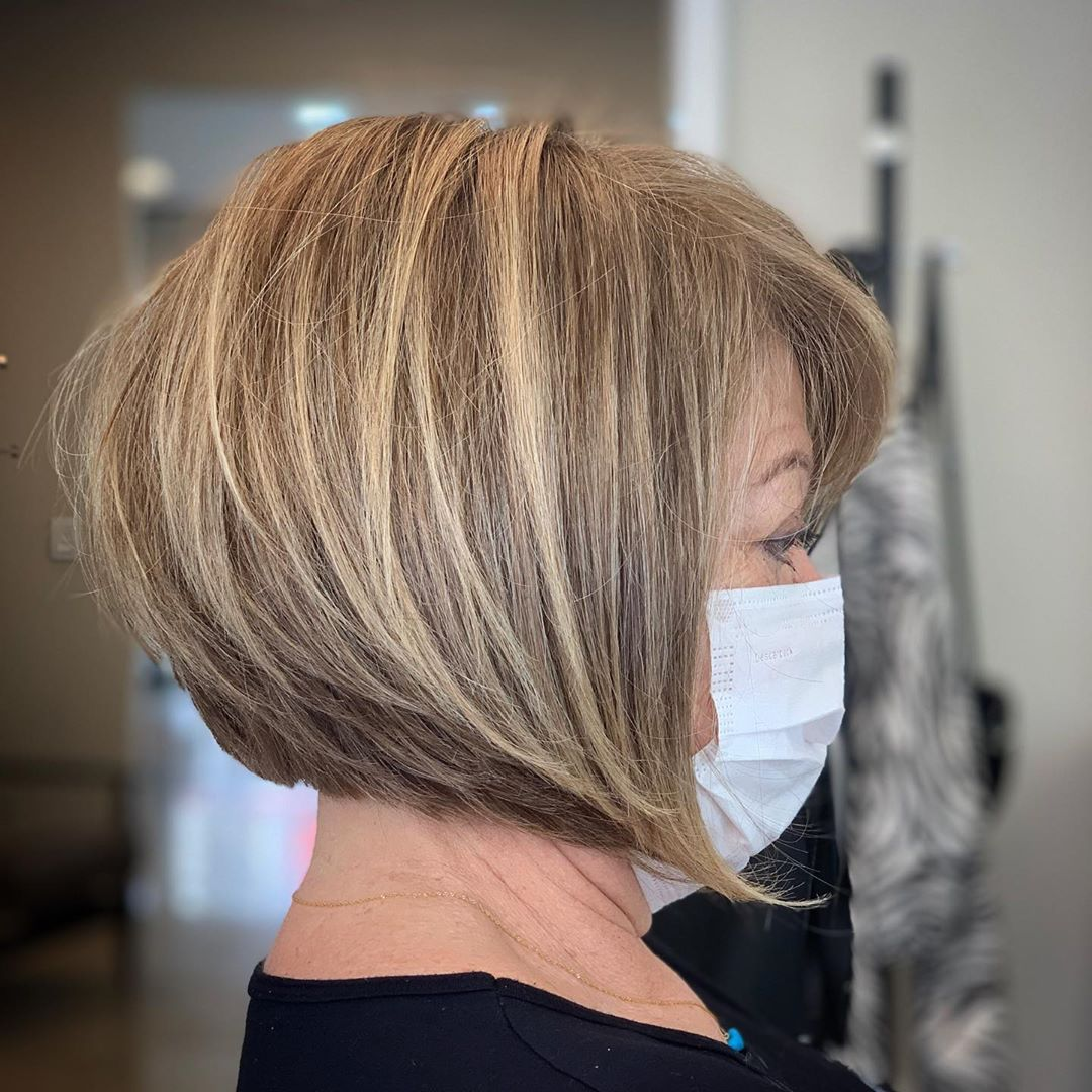 Short Bob Haircut for Older Women with Thick Hair