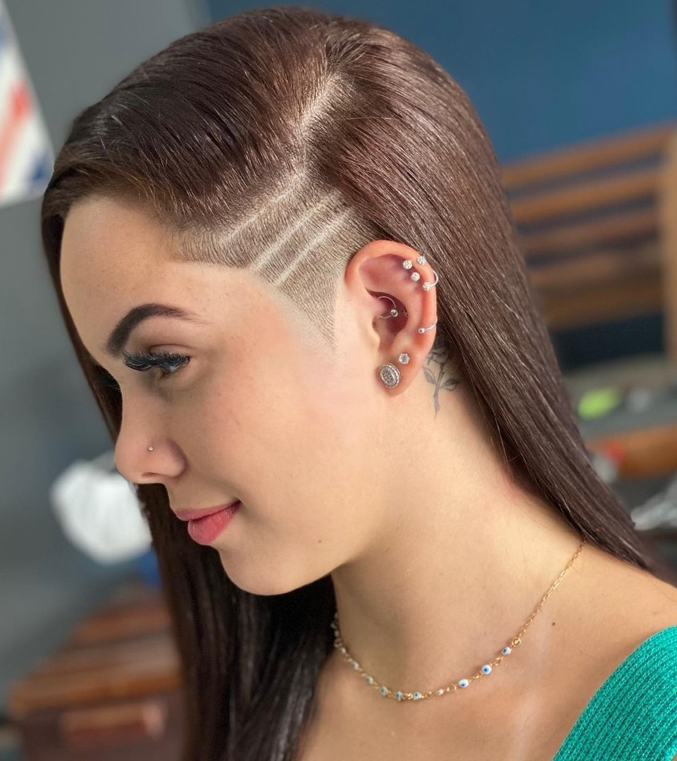 Long Comb-Over Hair with a Shaved Side