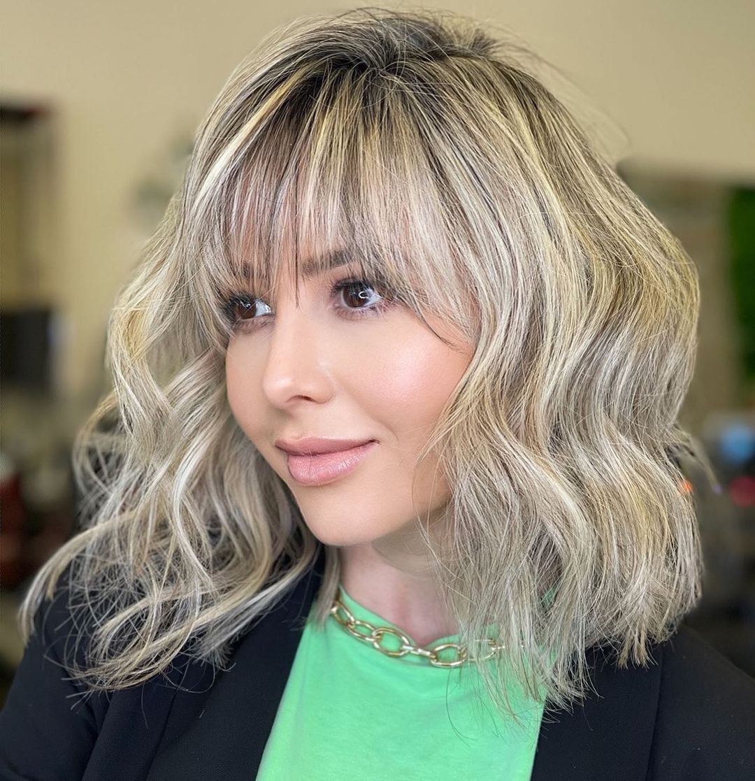 Wispy Bangs for a Round Face Shape