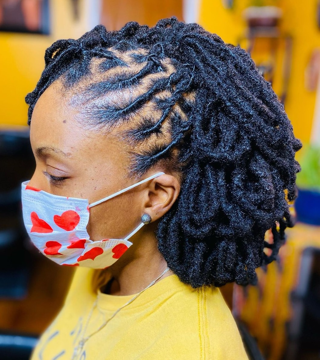 Looped Dread Updo Style for Women