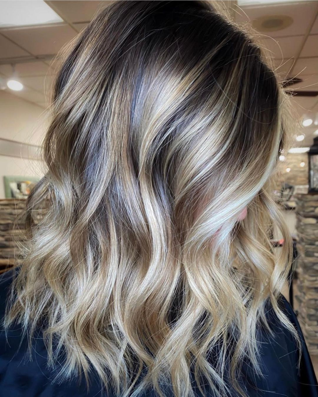 Silver and Blonde Balayage on Brown Hair