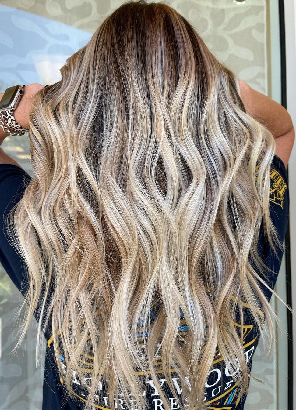 Long Blonde Balayage Hair with Waves