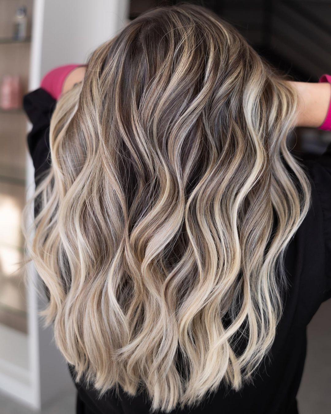 Beige Blonde Highlights for Dark Hair