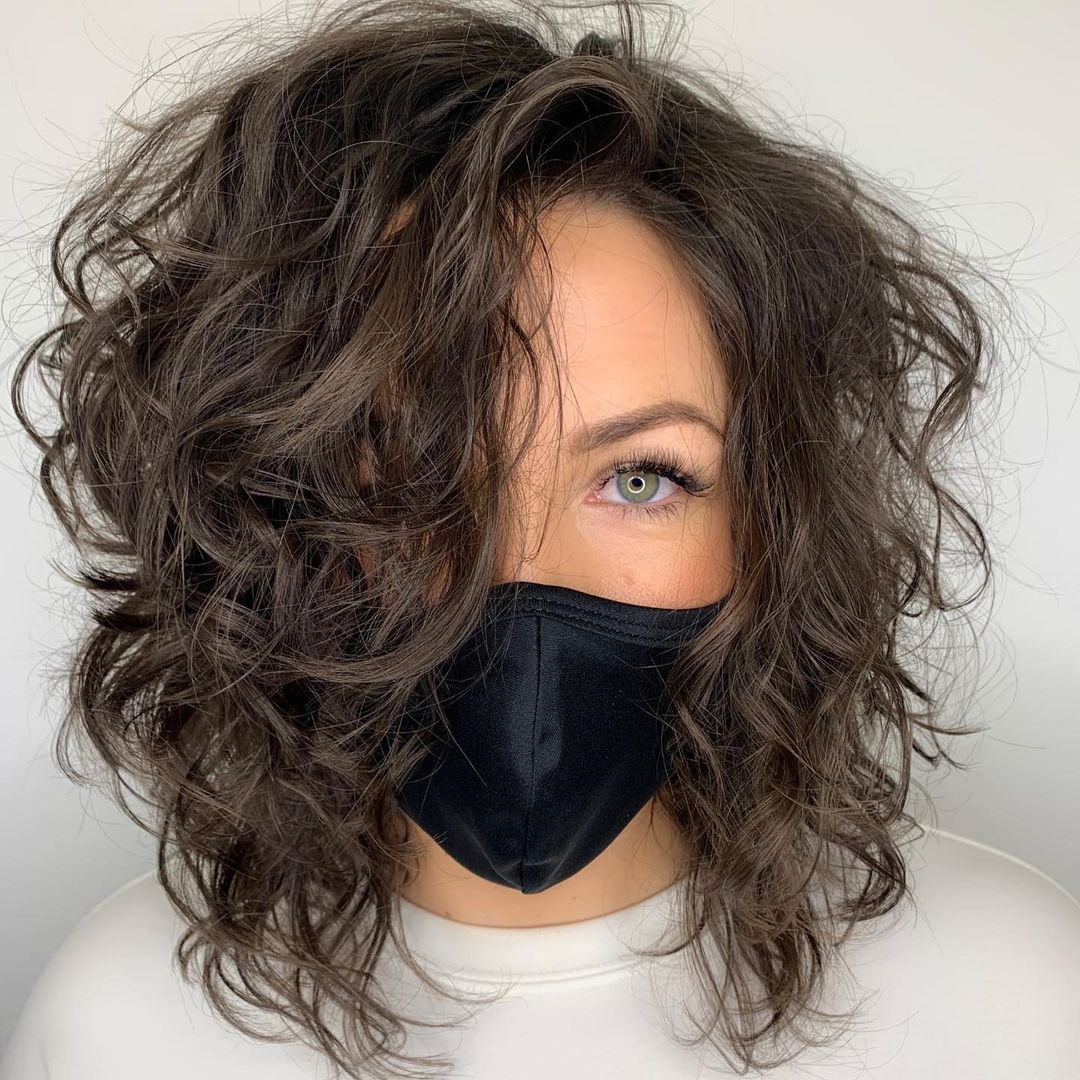 Curly Messy Medium-Length Hairstyle