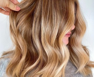 Trendy Medium-Length Caramel Honey Blonde Hair