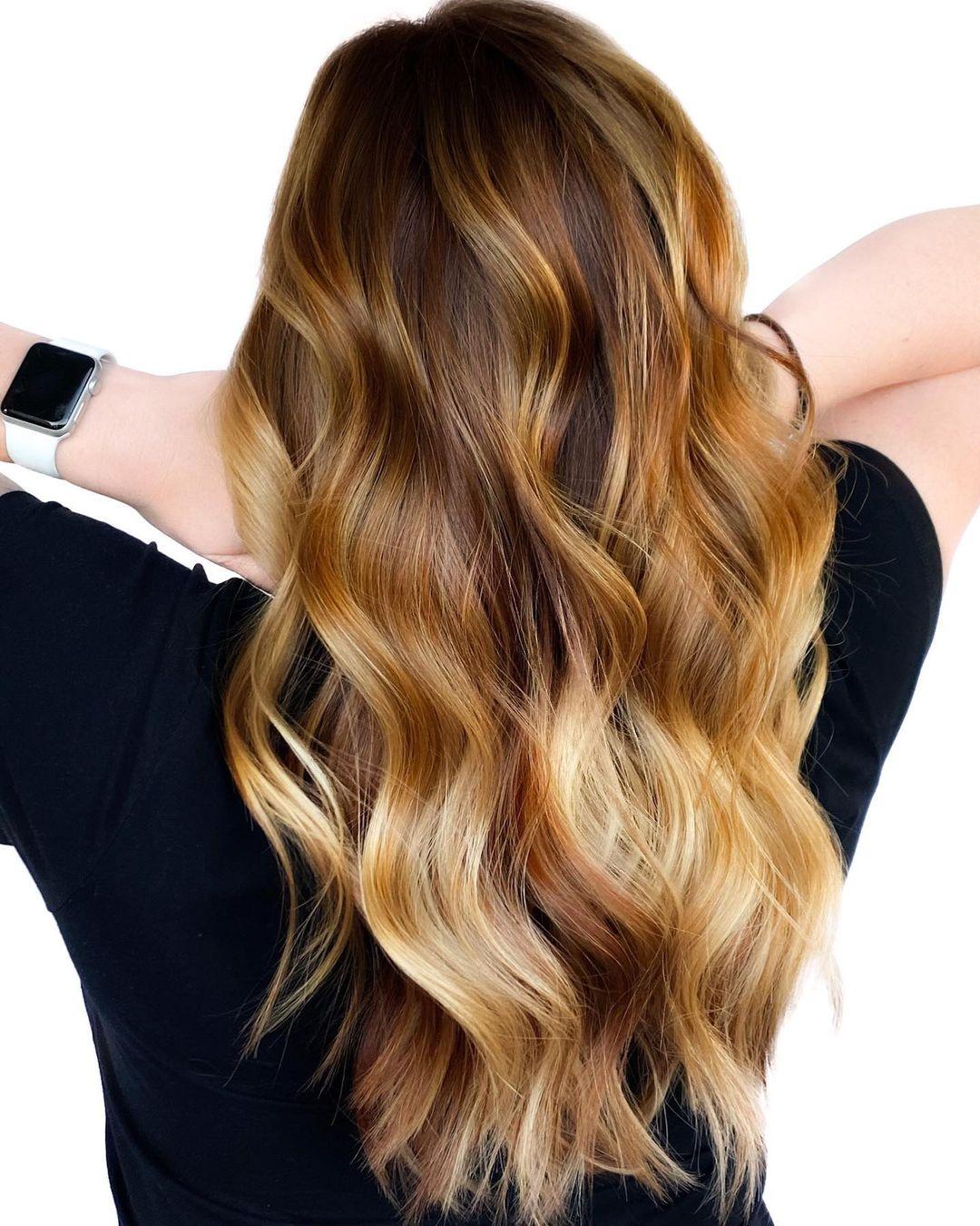 Long Honey Blonde Balayage Hair with Waves