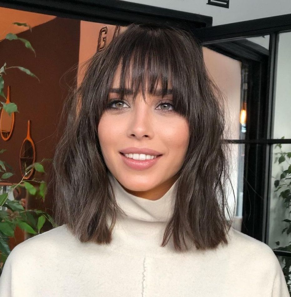 Modern Messy Lob with Bangs