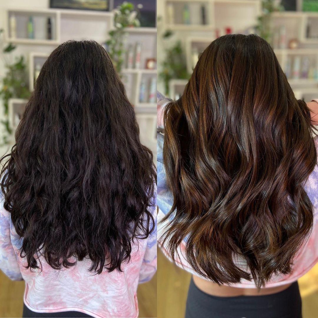 Dark Hair with Caramel Chocolate Highlights