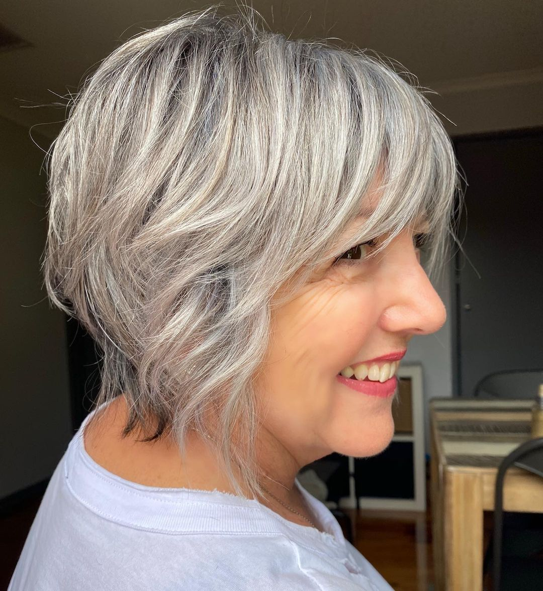 Short Layered Silver Hairstyle