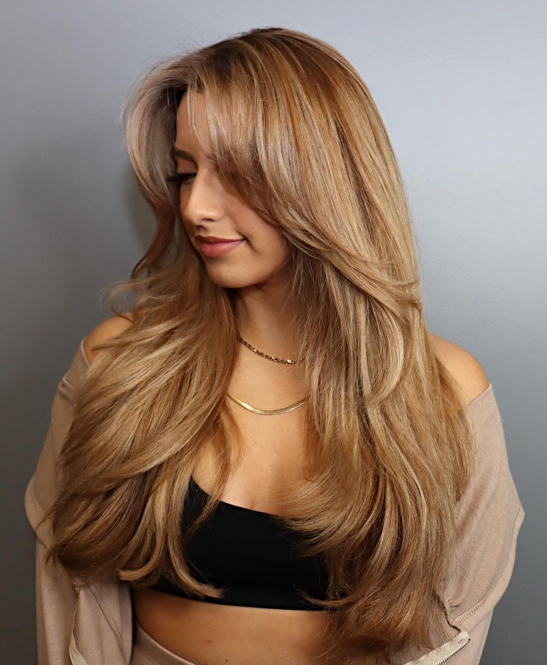 Low-Maintenance Layered Cut for Long Thick Hair