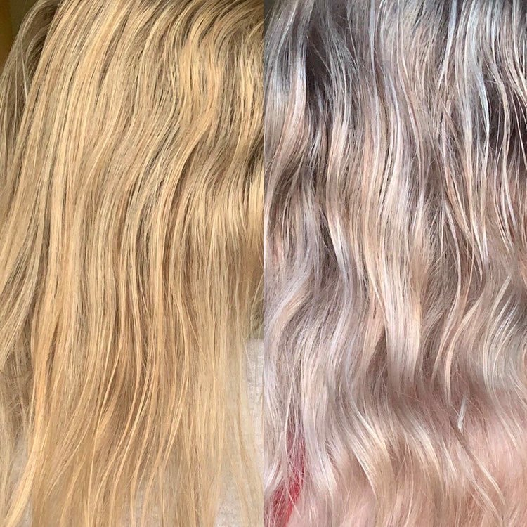 Blue Shampoo for Orange Roots Before-After Picture