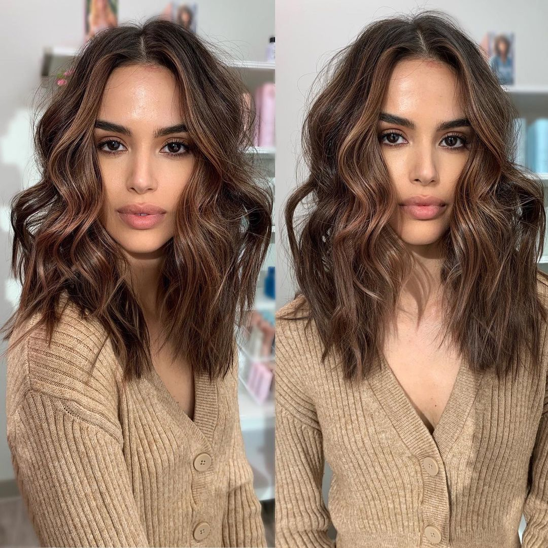 Wavy Lob for Big Foreheads