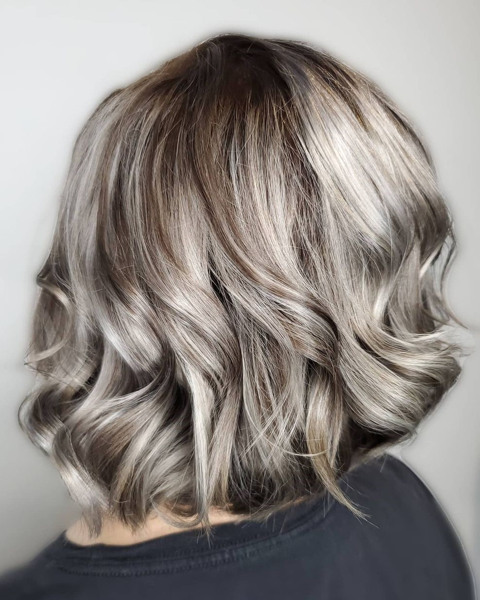 Silver Hair with Lowlights and Shadow Roots