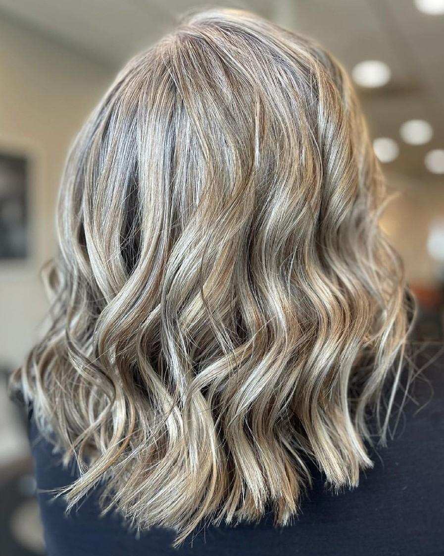 White Hair Balayage with Lowlights