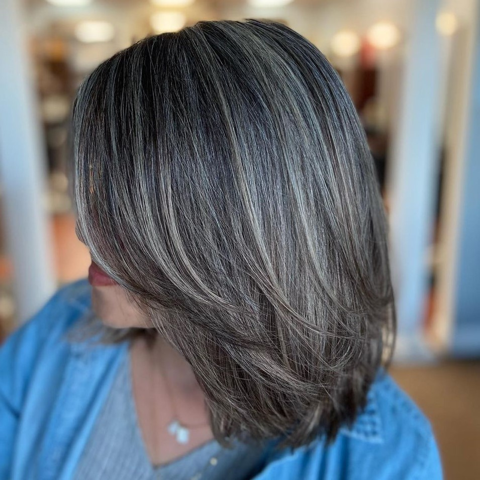 Dark Hair Transition to Gray
