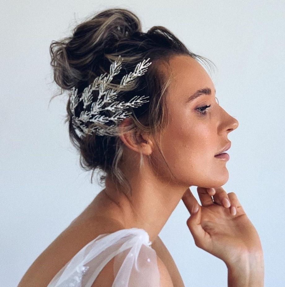 Wedding Short Hair Bun with an Accessory