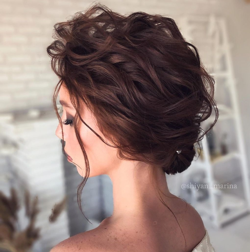 Wedding Tousled Wavy Updo for Short Hair